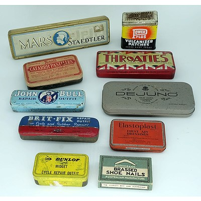 Ten Vintage Tins and Boxes Including Dunlop, Throaties, Staedtler and More