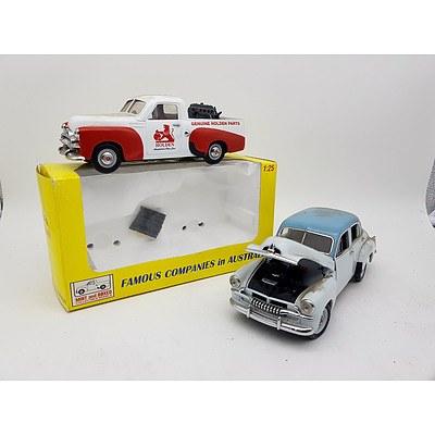 TRAX & Other Holden FJ Ute & Sedan 1:25 Scale Model Cars - Lot of 2