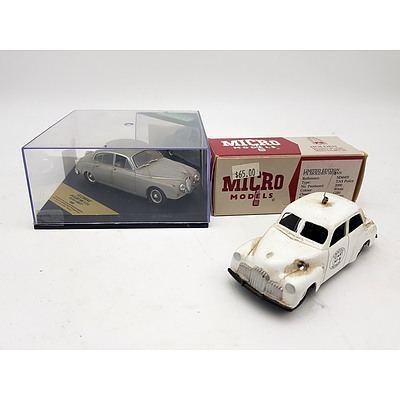 Vitesse 1959 Jaguar Mark II 3.4 & Holden FX Sedan TAS Police Model Cars - Lot of 2