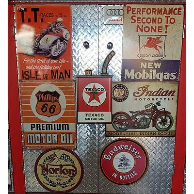Isle of Man, Phillips Motor Oil, Texaco, Mobilgas, Indian Motorcycles & Budweiser Reproduction Signs
