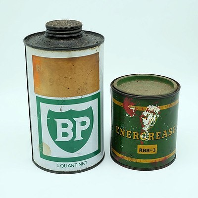 Energrease Tin and BP 1 Quart Oil Tin