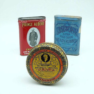 Three Vintage Tins Including Price Albert, Rowleigh's and Edgeworth