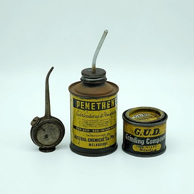 Penetrene Lubricant Tin, GUD Grinding Compound Tin and a Miniature Oil Spout
