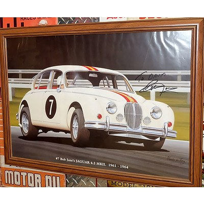 Two Framed Automotive Posters Signed by Bob Jane