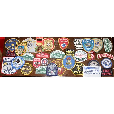 Group of International Patches Including Duton 1995 Grand Prix Rally and Tuyalu Police
