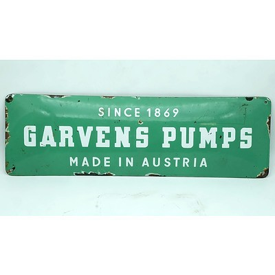 Vintage Enameled Tin Garvens Pump Sign