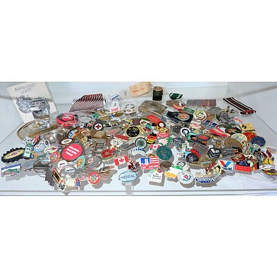 Shelf Lot of Various Car Badges, Medals, Ribbons and More