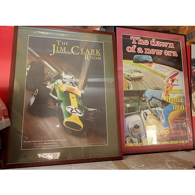 Two Automotive Posters Including The Jim Clark Room and The Dawn of a New Era