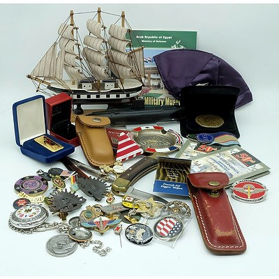 US Buck Pocket Knife, Automotive and Military Badges, Sands of Gallipoli Paper Weight and More