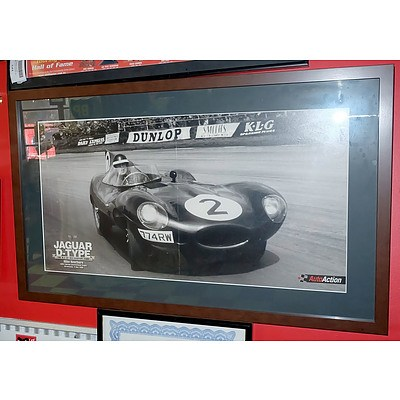 Auto Action Jaguar D Type Framed Poster
