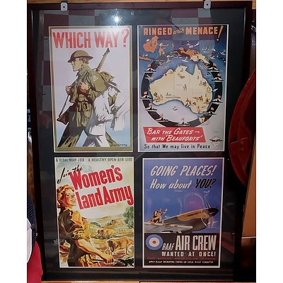 Two Framed Presentations of Australian Second World War Posters