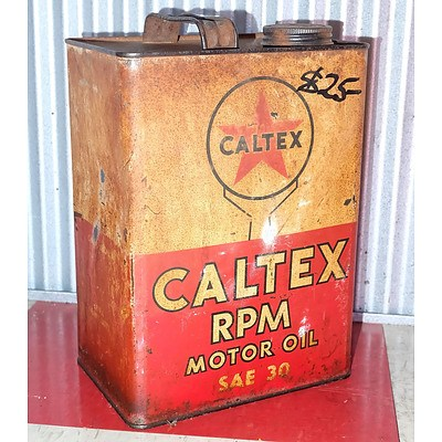 Vintage Caltex 1 Gallon Motor Oil Drum