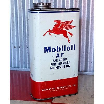 Vintage Mobiloil 1 Quart Oil Can