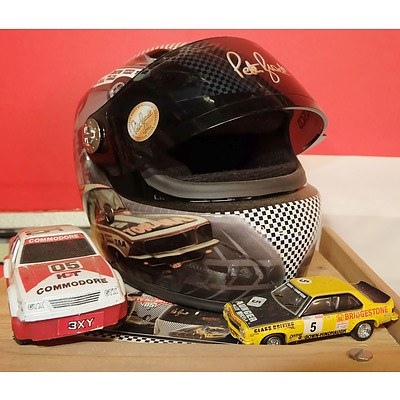 Limited Edition Miniature Peter Brock Helmet and Two Model Cars