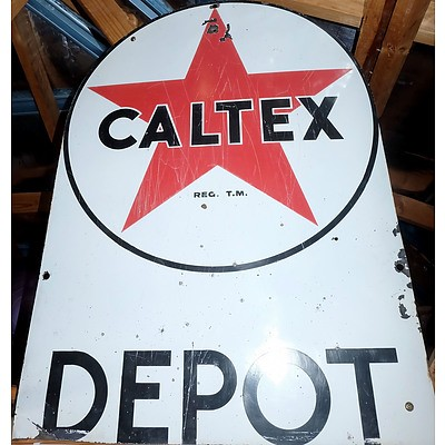 Vintage Enameled Tin Caltex Depot Sign, Height 86cm