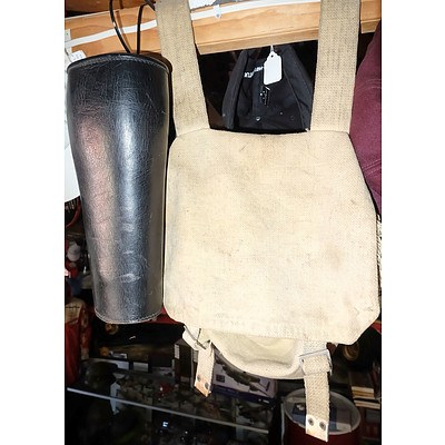 Pair of Leather Chaps and a Webbing Bag