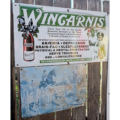 Two Reproduction Cadburys Coco and Wingarnis Signs