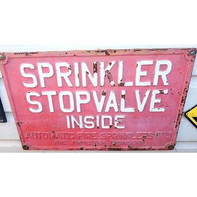 Sprinkler Stopvalve Inside Cast Iron Sign