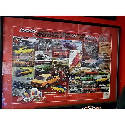 Holden Evolution of Horse Power 60s and 70s Frame Poster and Geoghegan Brothers Historic Motor Racing Poster