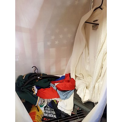Assorted Lot of Clothing Including Boxing Shorts, Dressing Gown, Scarf, T Shirts and More