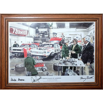 Birthplace of Legends 1977 Bathurst Post Mortem Poster with Three Signatures Including Peter Brock