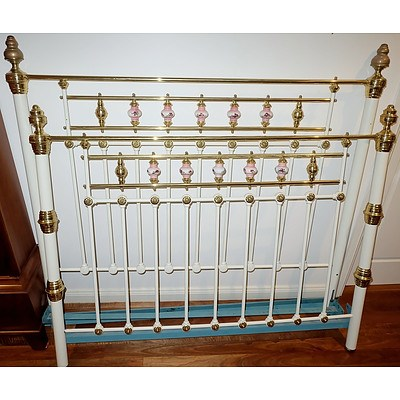 Antique Painted Metal Queen Bed with Brass and Hand Painted Porcelain Finials