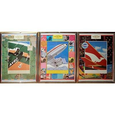 Three Qantas Posters Circa 1990
