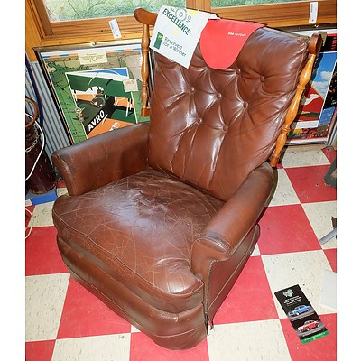 Buttoned Leather Upholstered Rocking Chair