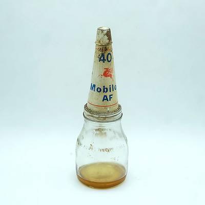 Mobiloil 1 Imperial Quart Tin Top Oil Glass Bottle