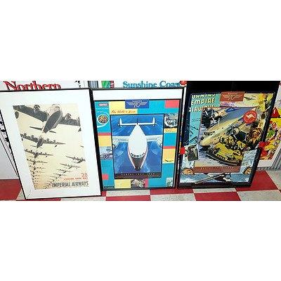 Six Framed Aeronautical Posters