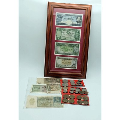Group of Various Coins and Bank Notes Including Australian Pound Notes, German Into War Notes, Australian Florins and Pennies and More