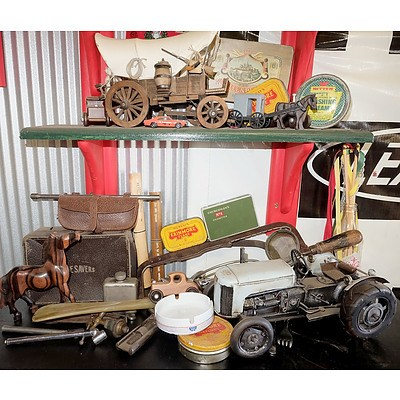 Two Shelves of Tools, Cigarette Tins, Chrysler Knife and Fork, Hand Crafted Wagon and More