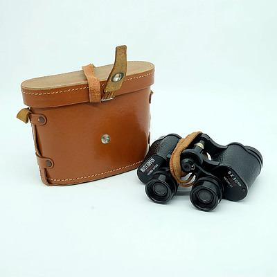 Pair of Watchman 8x30 Binoculars with Original Leather Carry Case