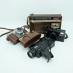 National Panasonic Radio, Eumig Mini 3 Video Camera, Cloter Junior Camera and a Nikon L35AD Camera