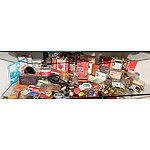Shelf Lot Including Mohawk Playing Cards, Senior Service Cigarettes, Smith and Wesson Knife and More