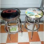 Two Automotive Themed Chrome Barstools