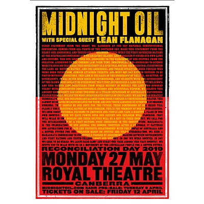 2 tickets to Midnight Oil (with Leah Flanagan) Reconciliation Day Concert (27 May 2019) with 2 concert posters signed by the band