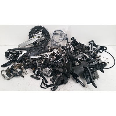 Assorted Boxes Of Bike Accesories Including Cranks, Brakes & More.