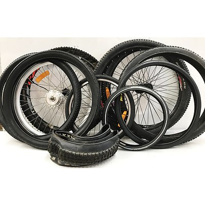 Front & Rear Mountain Bike, Electric & BMX Rims & New Tyres - Lot of 12