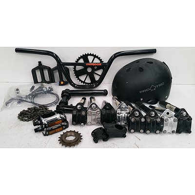 Bmx Bike Parts Lot Including Oldschool Stems, 3pc Cranks and more.
