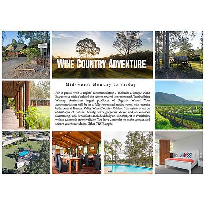 4 nights' mid-week accommodation in the Hunter Valley (mid-week: Monday to Friday)