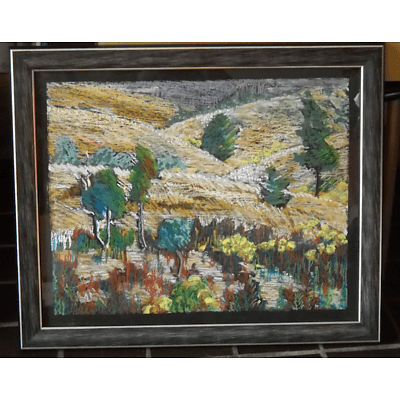 "Painting: ""Molonglo Valley"" by Rosemary Von Behrens, 2013, Oil pastel and oil stick on plywood"