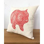Handmade screen printed wombat cushion