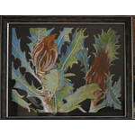 "Painting: ""Banksia heliantha"" by Rosemary Von Behrens, 2013, Oil pastel and oil stick on plywood"