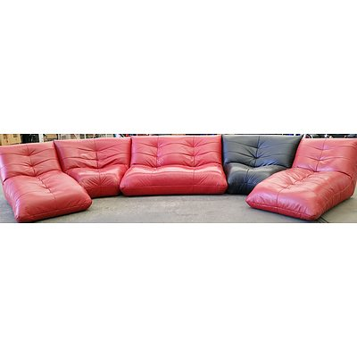 Modular Six Seater Five Piece Leather Lounge Suite