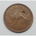 Error Coin - 1952 Australian Penny with Huge Lamination Error (hole completely through coin)