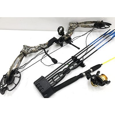 Hori-Zone Vulture Compound Bow & Fishing Rod with 2 Reels