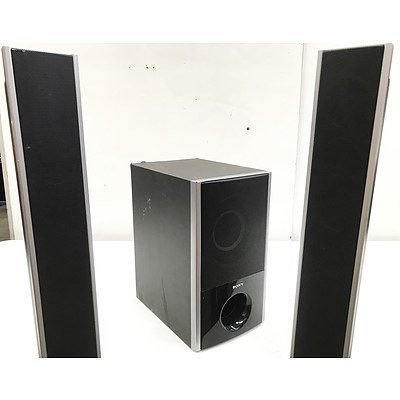 Sony Subwoofer and 2 Tower Speakers