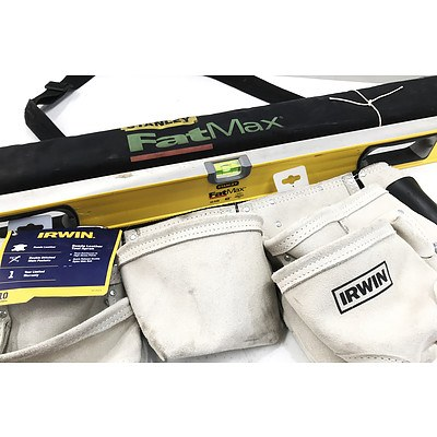 Stanley FatMax 48 inch Spirit Level & Brand New Irwin 10 Pocket Suede Leather Tool Apron