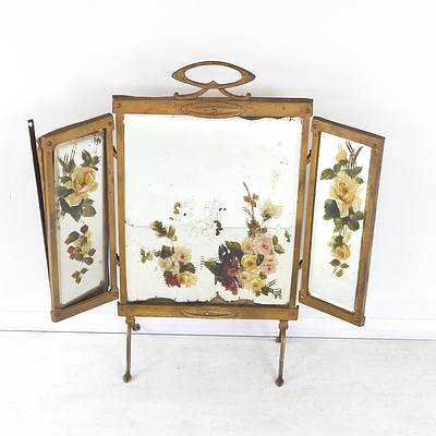 Vintage Bevelled Glass Three Panelled Mirror with Hand Painted Floral Motif